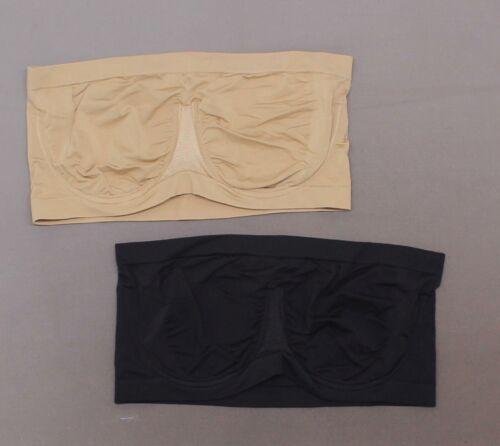 Details about  /rhonda Shear LOT OF 2 Plus Seamless Underwire Bandeau Bra 679035 Black//Nude 3X