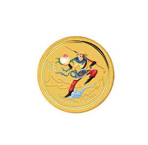 2016 $5 1/20oz Gold Colorized Australian Lunar Monkey King .9999 BU
