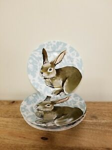 CIROA-Set-of-4-BUNNY-RABBIT-Dessert-Plates-Porcelain-Teal-Damask-EASTER-NEW