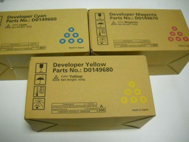 3x Developer,Cyan,Magenta,Yellow,D014-9660, -9670, -9680, Ricoh,MP C 6000,7500