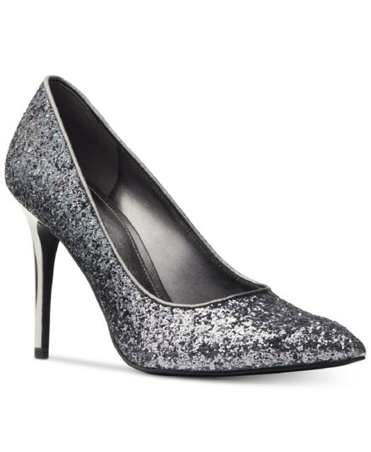 dec36a33ff5f Women s Shoes Michael Kors Claire Pump Glitter Fabric Gunmetal Grey Size 7.5