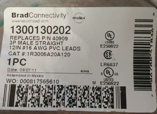 Brad Connectivity Woodhead Molex 1300130202 1R3006A20A120 3P Male Rcpt 40909