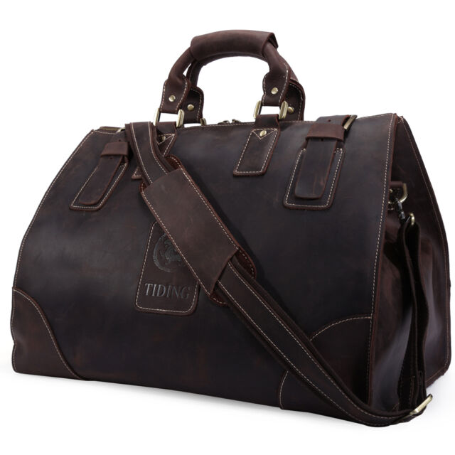 Men s Vintage Genuine Soft Leather Large Luggage Duffle Travel Gym Bag  Carry On e11dd4ca6b436