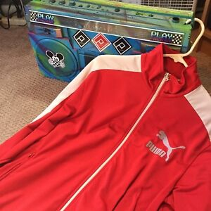 baead4ba0e41 Puma Track Jacket Red White Athletic Men s L Full Zip Retro Vintage ...