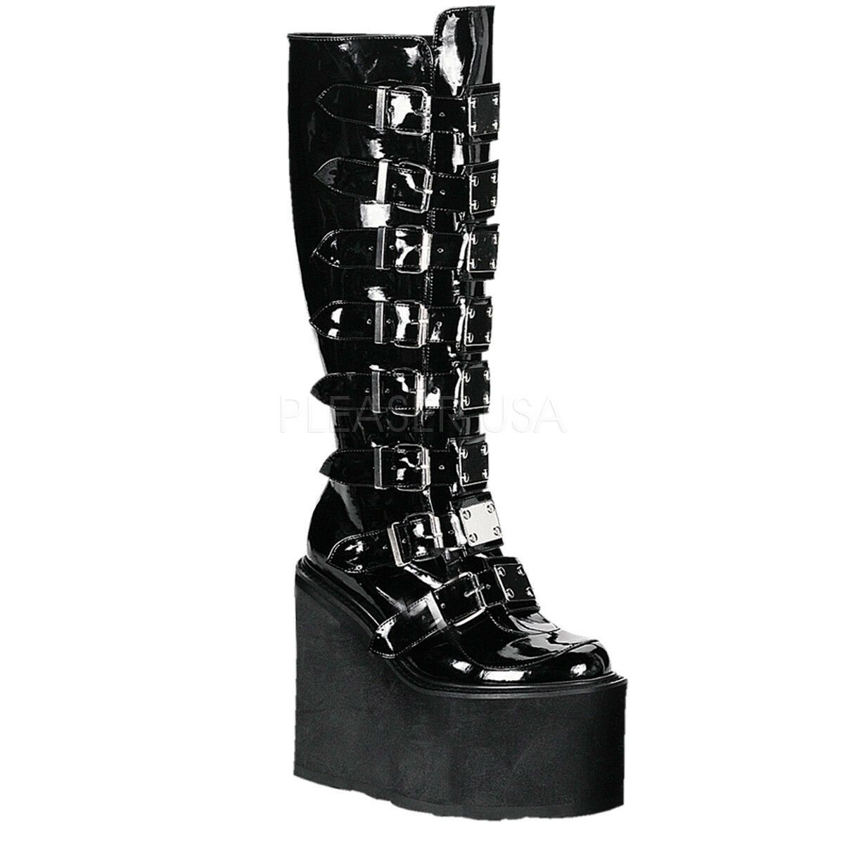 SWING-815 GOTH COMBAT RAVE MULTI STRAP CHROME PLATES WEDGE KNEE HIGH BOOT UNISEX