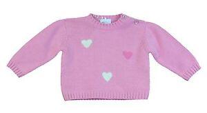 Jacadi-Maedchen-Assai-Mittelgross-Pink-Rundhals-Herz-Pullover-Sz-23-Monate-Nwt