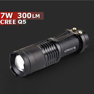 Mini-CREE-Q5-7W-300LM-linterna-flash-LED-Ajustable-Focus-Zoom-Lampara-GB