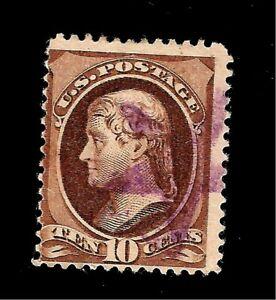 US-1881-Sc-209-10-c-JEFFERSON-USED-Purple-Cancel-Crisp-Copy