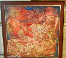 GENUINE 1956 Carles Madirolas Large Oil On Canvas Female Nudes Art Deco