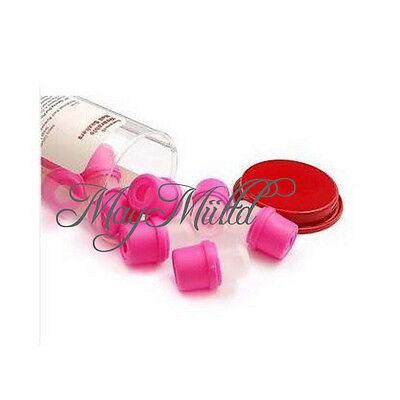 10Pcs Pink Wearable Nail Acrylic Soaker Kits Polish Remover Gel Cap Tips Z
