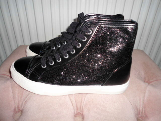 LADIES BLACK SEQUIN ANKLE HI TOP BASEBALL BOOTS TRAINERS SNEAKERS SIZE UK 6 - 39