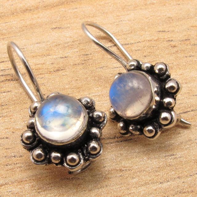Natural RAINBOW MOONSTONE Gems Handmade New Design Earrings ! 925 Silver Plated