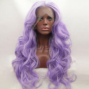 lavender-Lace-Front-wig-Long-hair-wavy-curly-scene-mermaid-Women-039-s-Wigs