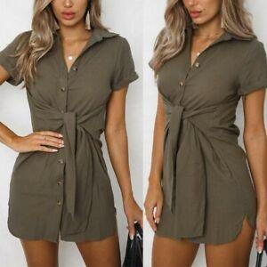 Womens-shirt-dress-casual-party-short-dress-short-sleeve-cocktail-beach-evening