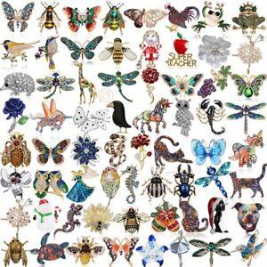 Hot-Sale-Rhinestone-Crystal-Animal-Butterfly-Cat-Dog-Brooch-Pin-Women-Jewelly