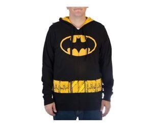 New! BATMAN Mens Lightweight Zipper Hoodie w/ Ears Cape DC COMICS Cosplay UNISEX