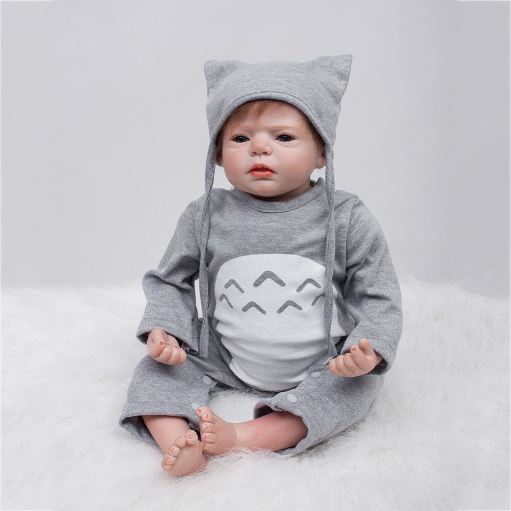 Lifelike 22inch Vinyl Newborn Baby Doll with Rooting Hair Magnetic Pacifier