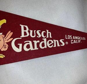 Vintage-Defunct-Los-Angeles-Busch-Gardens-Pennant-Banner-Flag-original-owner