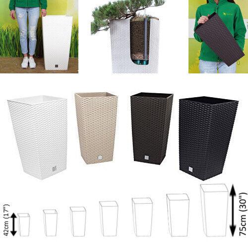 Grande Vimini Alto Vaso da Fiori Quadrato Plastica Giardino Interno