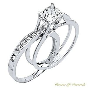 2-Ct-Princess-Cut-2-Piece-Engagement-Wedding-Ring-Band-Set-Solid-14K-White-Gold