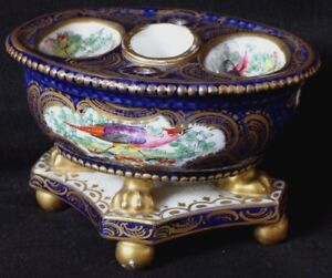 Ravissant-encrier-en-porcelaine-decor-peint-oiseaux-Old-porcelain-inkwell-XIX