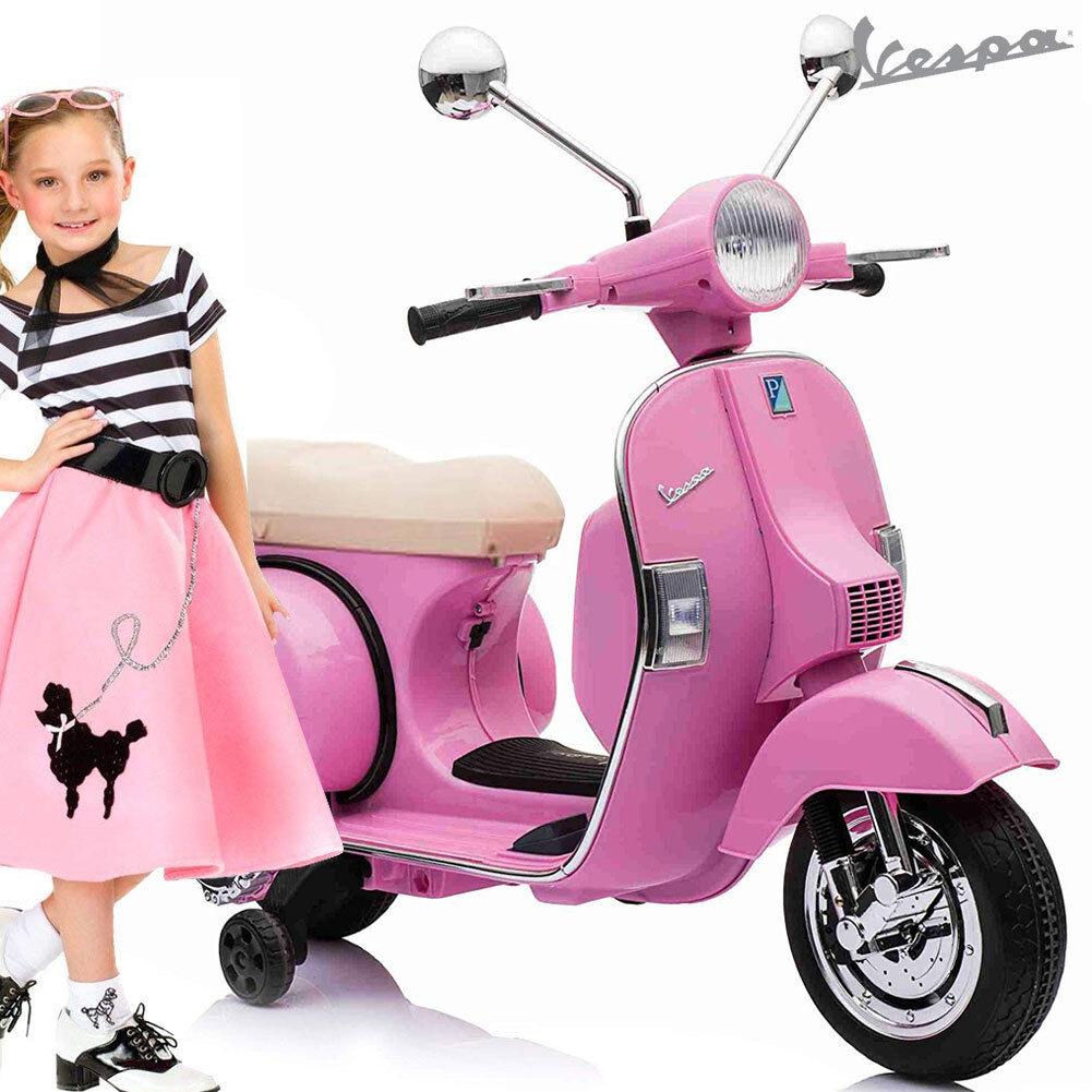 Bakaji Vespa Px 150 Per Bambini 12V Couleure rose Sellino Beige Ufficiale Piaggio