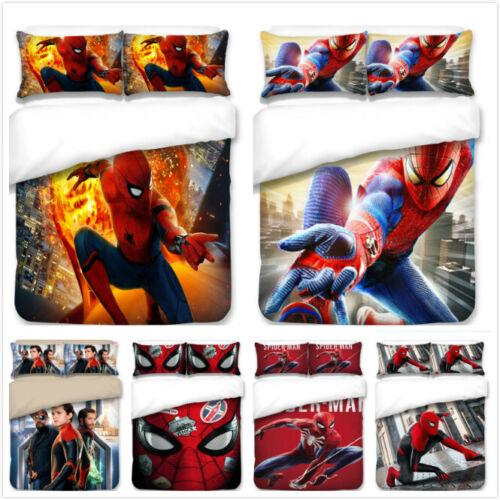 SpiderMan Design Bedding Set 3PC Of Duvet Cover Pillowcase UK Single Double King