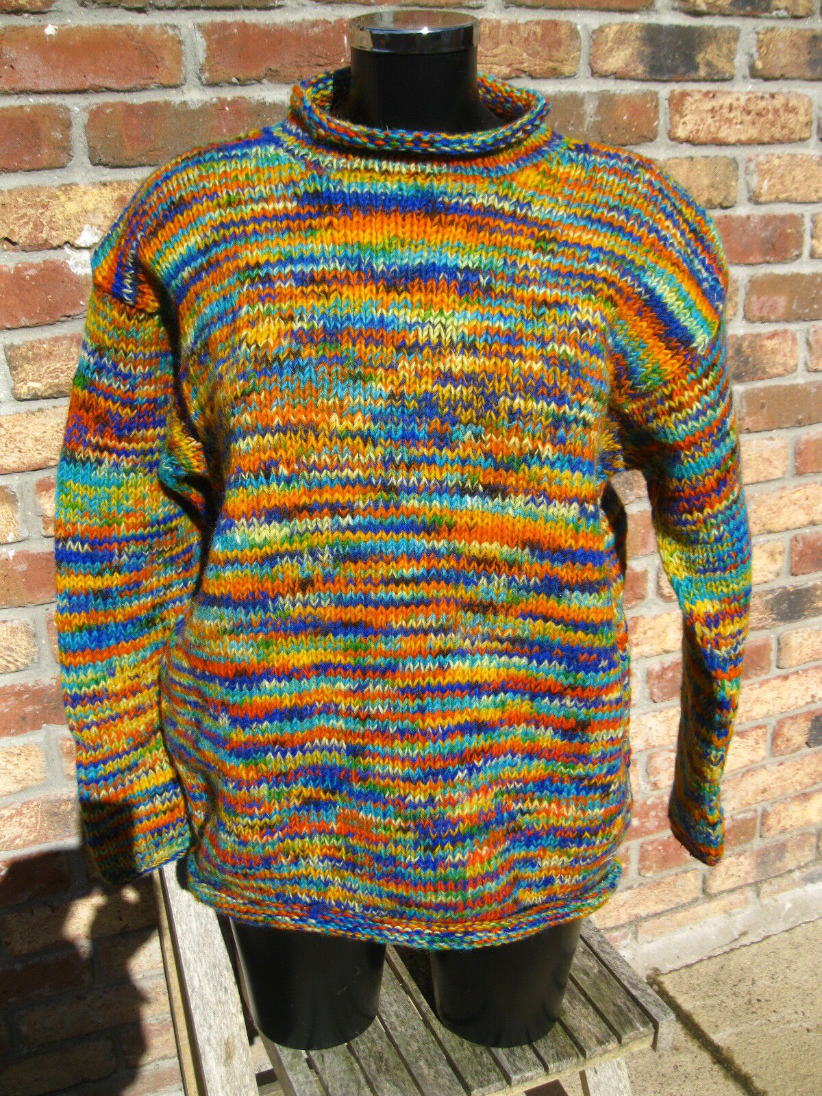 HIPPY JUMPER MULTI COLOUROT RAINBOW BOHO Hand Knitted NEPAL FAIR TRADE