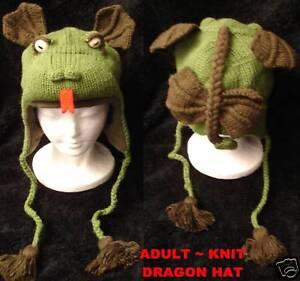3e02e5b3657 deLux DRAGON HAT knit ADULT costume FLEECE LINED toque gargoyle ...