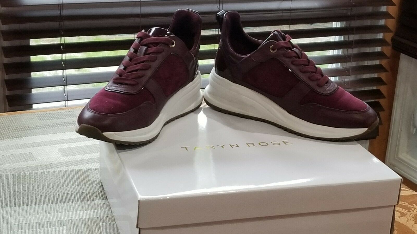 Taryn Rose Burgundy Zadie Soft Calf Sneakers With Support Lining Size 6 (6.5)