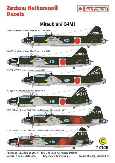 Techmod 1/72 Mitsubishi G4M1 Betty part 1 # 72149