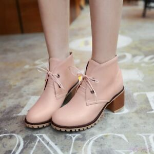60f7270f1f4 Women s Korean Cute Lolita Shoes Lace Up Ankle Boots Low Block Heel ...