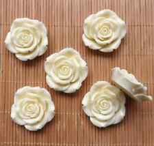 10pcs 42mm Big White Chunky Resin Flatback DIY Flower Beads Supplies With Hole