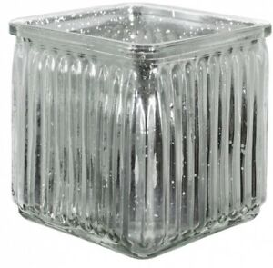 10cm-Glass-Cube-Vase-Silver-Small-Square-Glass-Flower-Vase