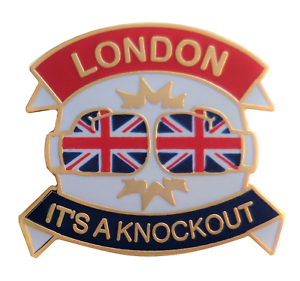 London - It's A Knockout Boxing Gloves Pin Badge