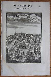 MALLET: View of Salvador Bahia Brasil - 1683