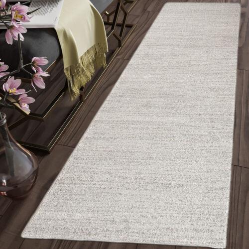TAPISO Long Hallway Carpet Runner Rug Light Grey Plain Pattern Stairs Soft Rugs