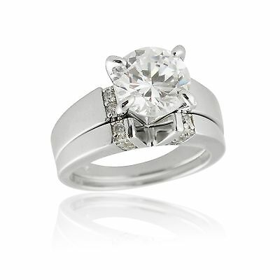 925 Sterling Silver Cubic Zirconia Solitaire V Cut Engagement Wedding Ring Set
