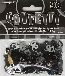 90th-BIRTHDAY-PARTY-SUPPLIES-CONFETTI-FOR-TABLE-DECORATIONS-14g-SLVR-amp-BLK