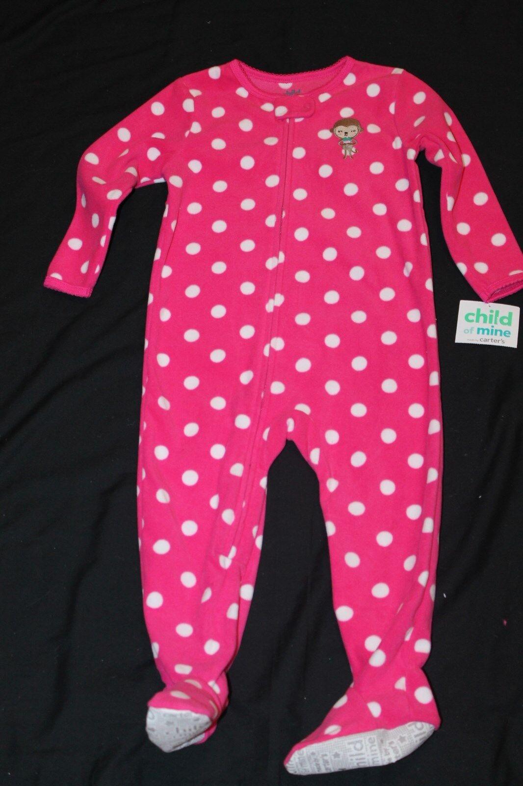 10a3b5f9d09c Two 24m Carter s Child of Mine Girls Sleeper Pajamas Fleece Footed ...