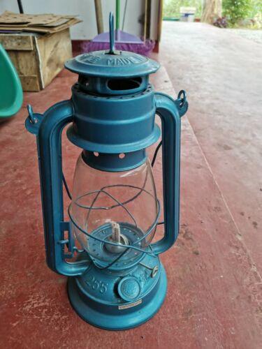 Hurricane Kerosene Oil Lantern Emergency Hanging Light Lamp 12 Inch Blue