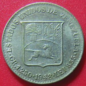 1948-VENEZUELA-25-CENTIMOS-SILVER-LUSTROUS-MIRRORED-FIELDS-UNDER-TONED-SURFACE