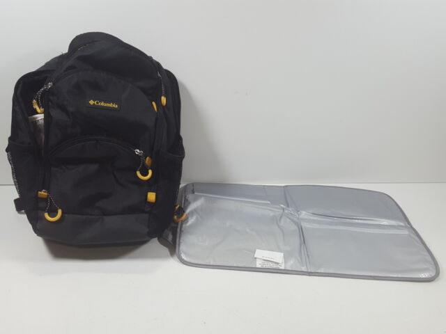 7e18b8cccfd98 Columbia Pine Oaks Backpack Diaper Bag Black/yellow Changing Pad Included