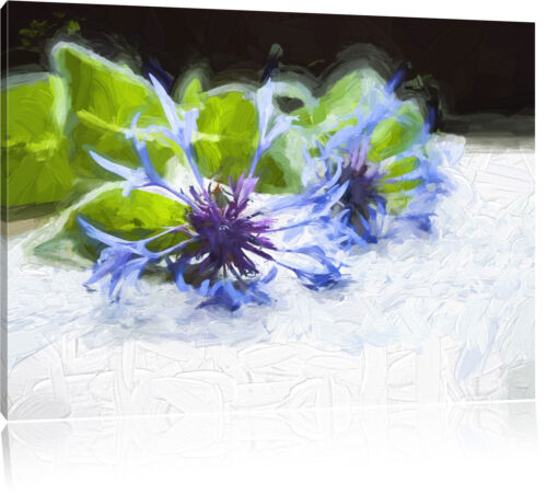 Handgeschriebenes Notenblatt mit blauer Kornblume Leinwandbild Wanddeko Kunstdru