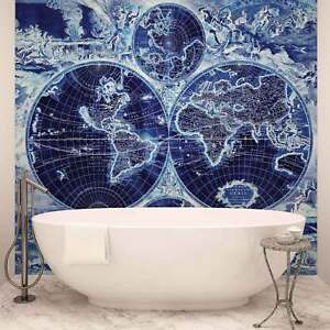 Wall mural photo wallpaper xxl world map vintage blue 2820ws ebay image is loading wall mural photo wallpaper xxl world map vintage gumiabroncs Image collections