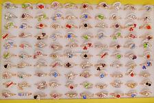 Jewelry Wholesale Lots 10pcs mixed style Rhinestone Gold Plated Ring FREE