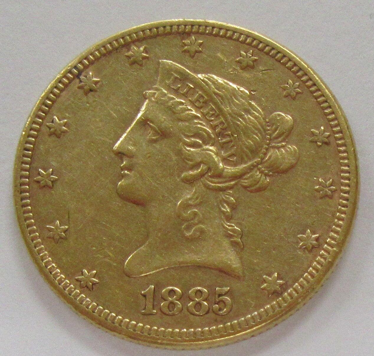1885 Us Gold Liberty 10 Dollar Old Us 10 Gold Bullion Coin Shopnetone