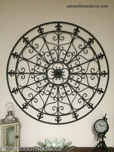 Large Round Wrought Iron Wall DECOR Rustic Scroll Fleur De Lis ...