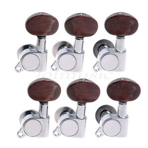 Guitar Parts Machine Heads with BROWN Buttons 6L for Acoustic Guitar
