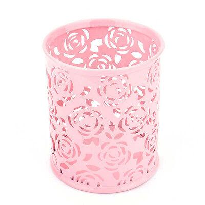 Chic Hollow Rose Flower Storage Box Metal Pen Pencil Cup Holder Desk Organize TB